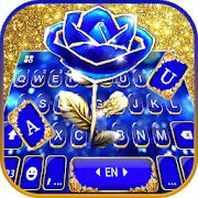 Download Gold Blue Rose Crystal Keyboard Theme 1.0 Apk for android