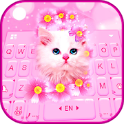 Download Pink Flowers Kitten Keyboard Theme 1.0 Apk for android