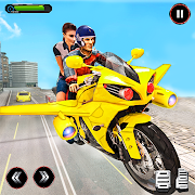 Download Real Flying Bike Taxi Simulator: Bike Driving Game 4.9 Apk for android