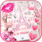 Download Pink Diamond Paris Keyboard Theme 15.0 Apk for android