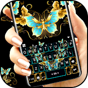 Download Vintage Golden Butterfly Keyboard Theme 1.0 Apk for android